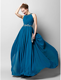 TS Couture® Prom  Formal Evening Dress Sheath / Column Jewel Floor-length Chiffon with Appliques / Beading / Draping / Side Draping