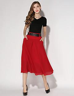 Semester / Streetchic Midi Kjolar Kvinnors Oelastisk Siden / Polyester