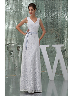 Formal Evening Dress A-line V-neck Floor-length Lace / Charmeuse with Lace / Sash / Ribbon