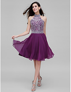 TS Couture® Cocktail Dress A-line High Neck Knee-length Chiffon with Beading / Crystal Detailing
