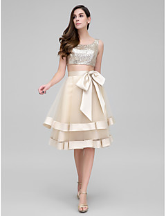 TS Couture Cocktail Party Prom Dress - Two Pieces A-line Scoop Knee-length Organza Sequined with Bow(s) Sequins