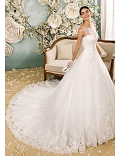 Lanting Bride® A-line Wedding Dress Chapel Train Scoop Tulle with Appliques / Button