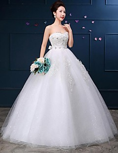 Ball Gown Wedding Dress-White Floor-length Sweetheart Lace / Tulle