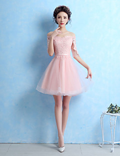 Cocktail Party Dress-Blushing Pink / Silver A-line Off-the-shoulder Short/Mini Lace / Tulle
