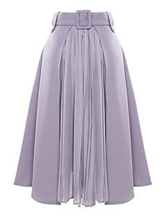 Vardag Midi Kjolar Kvinnors Oelastisk Polyester