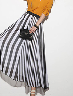 Women's Striped Blue / Black Skirts,Boho / Beach Maxi