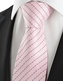 KissTies Men's Striped Pink Microfiber Tie Necktie For Wedding Party Holiday With Gift Box