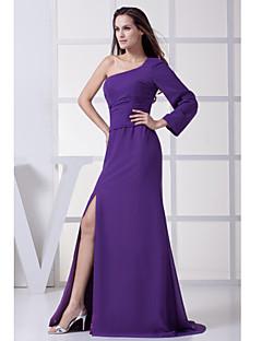 Floor-length Chiffon Bridesmaid Dress-Grape Sheath/Column Notched