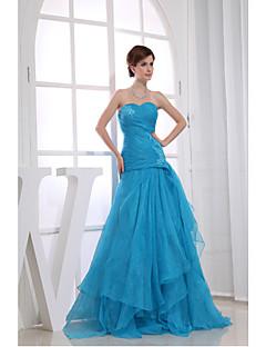 Serata formale Vestito Linea-A A cuore Lungo Organza con Con applique / Perline / Drappeggio di lato