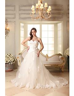 A-line Wedding Dress Chapel Train Sweetheart Organza / Satin with Appliques / Beading / Criss-Cross / Flower