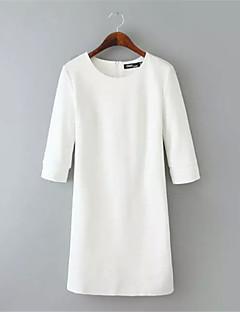 Robe Aux femmes Gaine Street Chic,Couleur Pleine Col Arrondi Au dessus du genou Polyester