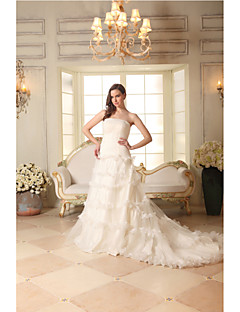 A-line Wedding Dress-Ivory Court Train Strapless Satin / Tulle