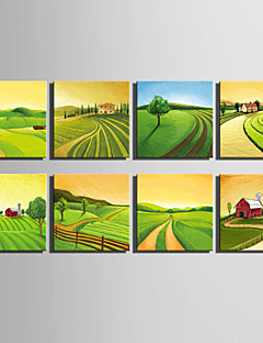 E-HOME® Stretched Canvas Art Green Pastoral Scenery Series Decoration Painting MINI SIZE One Pcs