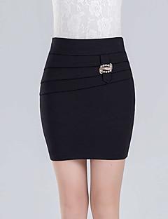 Polyester-Micro-elastisch-Casual / Eenvoudig-Boven de knie-Vrouwen-Rokken