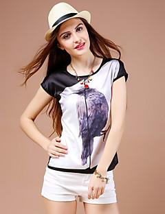Vrouwen Dierenprint T-shirt Ronde hals,Korte mouw,Katoen / Polyester
