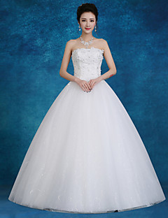 Ball Gown Wedding Dress-White Floor-length Strapless Lace / Satin / Tulle