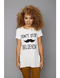 Tee-shirt Aux femmes Fendu Manches Courtes Col Arrondi Polyester