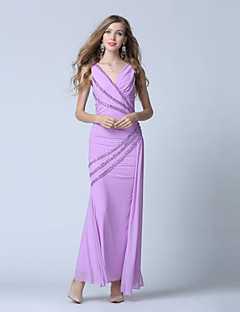 Formal Evening Dress-Lilac Trumpet/Mermaid V-neck Ankle-length Tulle