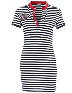 Damen Kleid-Hülle Retro / Street Schick Gestreift Übers Knie Polyester Hemdkragen