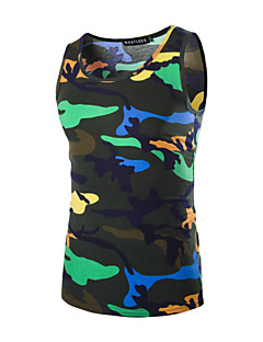 Men's Print Casual Tank Tops,Polyester Sleeveless-Multi-color