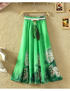 Women's Floral Multi-color Skirts,Beach Maxi