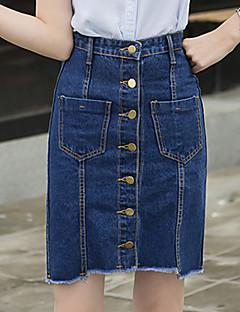 Vintage / Streetchic Ovanför knäet Kjolar Kvinnors Oelastisk Bomull