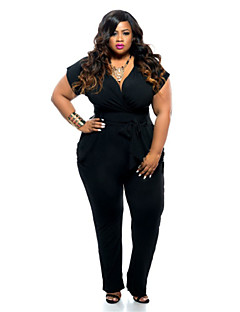 Women's Sexy Plus Size V Neck Short Sleeve Jumpsuits with Belt (L - XXXL)