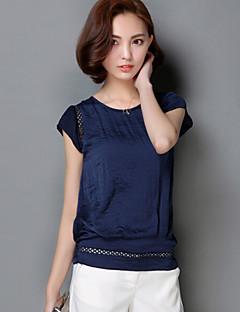 Enfärgad Kortärmad T-shirt Kvinnors Rund hals Nylon