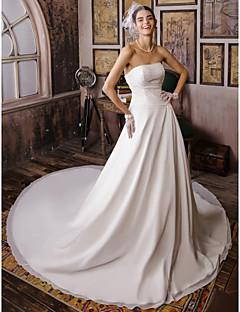 LAN TING BRIDE Salón Vestido de novia - Clásico y Atemporal Inspiración Vintage Capilla Sin Tirantes Raso con Cuentas