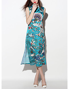 i-yecho Frauen Jahrgang Etuikleid Gehen, Jacquard-midi ärmellos blau Polyester Frühjahr stehen
