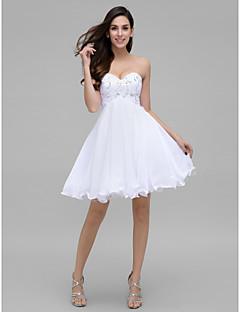 칵테일 파티 couture® TS는 구슬 장식과 라인 아가 무릎 길이 쉬폰 드레스