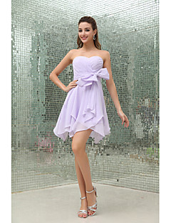 Short / Mini Chiffon Bridesmaid Dress A-line Strapless with Bow(s) / Sash / Ribbon / Side Draping