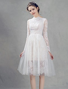 Knee-length Lace Bridesmaid Dress - A-line High Neck with