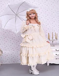 Steampunk®Beige Long Sleeves Ruffles Cotton Sweet Lolita Dress