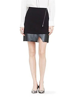 Women's Patchwork Black Skirts,Street chic Above Knee