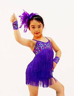 Robes(Violet / Rouge / Jaune,Paillété / Lycra,Costumes de Pom-Pom Girl / Danse latine / Spectacle)Costumes de Pom-Pom Girl / Danse latine