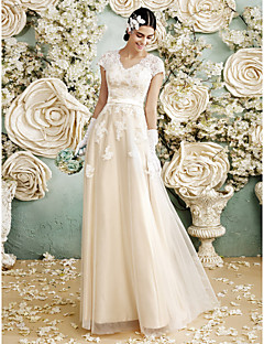 A-line Wedding Dress - Champagne Floor-length V-neck Satin / Tulle
