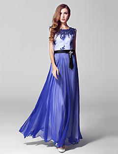 포멀 이브닝 드레스 볼 드레스 쥬얼리 발목 길이 레이스 / 튤 와 자수장식 / 레이스 / 패턴 / 프린트