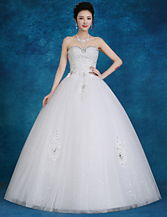 Ball Gown Wedding Dress-White Floor-length Sweetheart Lace / Tulle / Sequined
