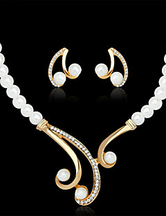 Lucky Doll Alloy / Imitation Pearl / Rhinestone / Gold Plated Jewelry Set Necklace/Earrings Wedding / Party 1set