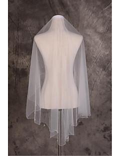 웨딩 면사포 한층 팔꿈치 베일 컷 가장자리 명주그물 화이트