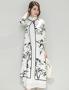 Women's Vintage Print Sheath Dress,Crew Neck Midi Polyester