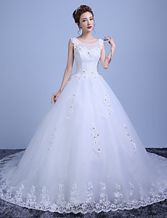 De Baile Vestido de Noiva Cauda Capela Decote em U Renda / Cetim / Tule com Miçanga / Renda