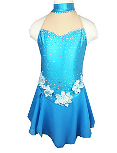 Ice Skating Dress Women's Sleeveless Skating Skirts & Dresses Figure Skating Dress Elastane Blue Skating Wear Outdoor clothing Classic
