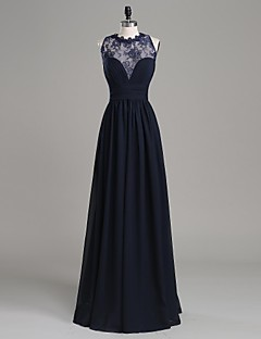Formal Evening Dress A-line Jewel Floor-length Chiffon / Lace with Appliques / Side Draping