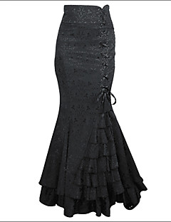 Women's Ruffle Shaperdiva Steampunk Retro Long Skirt Jacquard Fishtail Vintage Dress