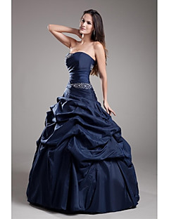 TS Couture Formal Evening Dress - Vintage Inspired Ball Gown Strapless Floor-length Taffeta with Beading Pick Up Skirt
