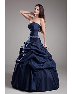 구슬과 TS couture® 공식적인 저녁 드레스 볼 가운 끈이 바닥 길이 태 피터 / 픽업 스커트