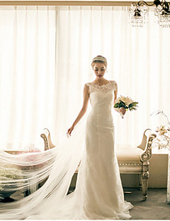 Trumpet / Mermaid Wedding Dress Cathedral Train Bateau Lace / Satin / Tulle with Lace / Ruffle