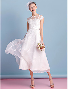 LAN TING BRIDE A-line Wedding Dress See-Through Tea-length Bateau Organza with Appliques Bow Lace Sash / Ribbon